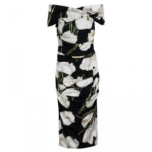 Dolce and Gabbana Black Tulip Print Ruched Silk Off Shoulder Midi Dress M