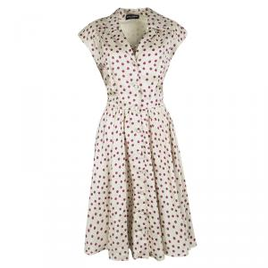 Dolce and Gabbana Beige Polka Dotted Silk Button Front Dress L