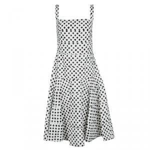 Dolce and Gabbana Monochrome Polka Dotted Sleeveless Cotton Dress L