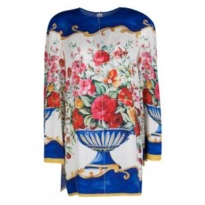 Dolce and Gabbana Caltagirone Floral Vase Print Silk Long Sleeve Dress M