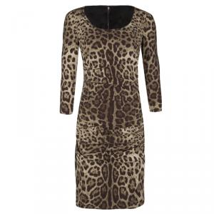 Dolce and Gabbana Animal Print Ruched Silk Long Sleeve Dress M
