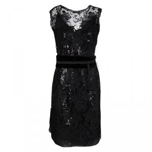 Dolce and Gabbana Black Sequined Floral Lace Sleeveless Dress M