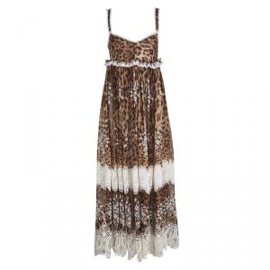 Dolce and Gabbana Animal Printed Silk Embroidered Lace Detail Maxi Dress S