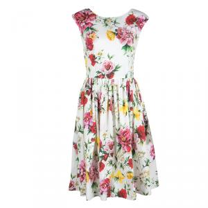 Dolce and Gabbana Floral Printed Cotton Midi Dress M