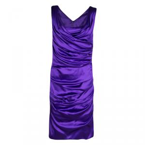 Dolce and Gabbana Puple Satin Ruched Sleeveless Dress L