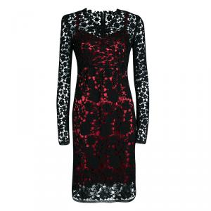 Dolce and Gabbana Black Embroidered Lace Contrast Lined Long Sleeve Dress S