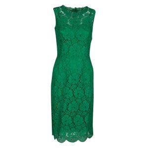 Dolce and Gabbana Green Floral Lace Scalloped Hem Sleeveless Dress S