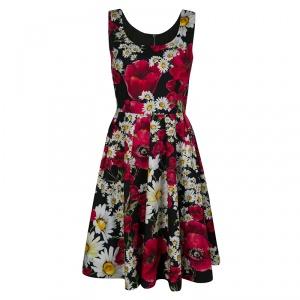 Dolce and Gabbana Poppy and Daisy Print Sleeveless Cotton Dress M