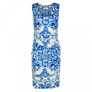 Dolce and Gabbana Blue and White Majolica Printed Silk Ruched Sleeveless Dress S
