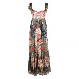 Dolce and Gabbana Multicolor Printed Silk Chiffon Empire Line Maxi Dress M