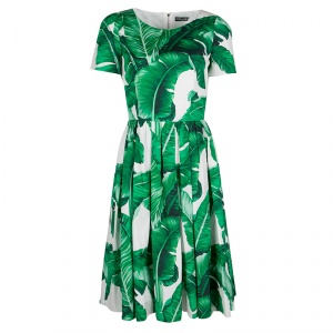 Dolce and Gabbana Green and White Banana Leaf Print Cotton Poplin Dress M