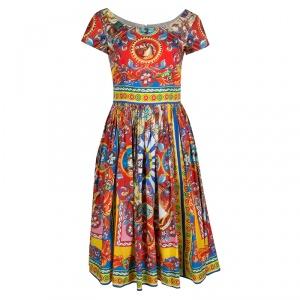 Dolce and Gabbana Teatro Dei Pupi Print Cotton Poplin Dress S