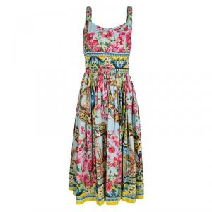 Dolce and Gabbana Floral Print Smocked Waist Sleeveless Cotton Poplin Dress S