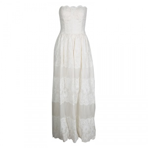 Dolce and Gabbana Cream Scalloped Floral Lace Strapless Gown S
