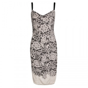 Dolce and Gabbana Black and Beige Floral Lace Print Sleeveless Bodycon Dress S
