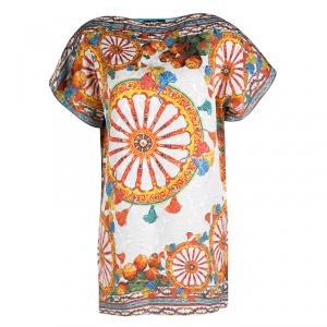 Dolce and Gabbana White Sicilian Printed Jacquard Boat Neck Shift Dress S