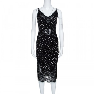 Dolce and Gabbana Black Star Print Floral Lace Insert Detail Sleeveless Dress S