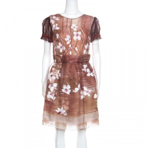 Dolce and Gabbana Brown Floral Print Organza Tulle Overlay Dress S