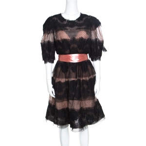 Dolce and Gabbana Black and Blush Pink Floral Scalloped Lace Belted Dress L