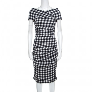 Dolce and Gabbana Monochrome Gingham Checked Ruched Bodycon Dress M