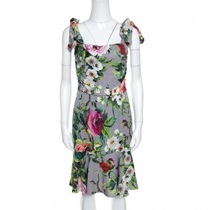 Dolce and Gabbana Grey Floral Printed Silk Sleeveless Dress M
