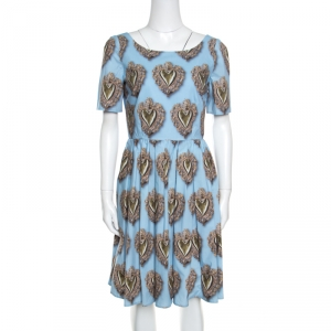 Dolce and Gabbana Blue Sacred Hearts Printed Cotton Short Sleeve Dress M