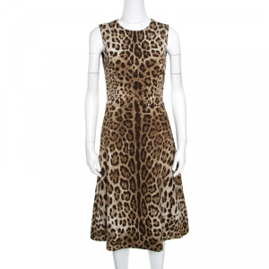 Dolce and Gabbana Brown Leopard Print Textured Sleeveless A-Line Dress S