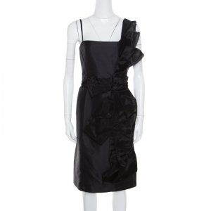 Dolce and Gabbana Black Organza Bow Detail Sleeveless Dress S