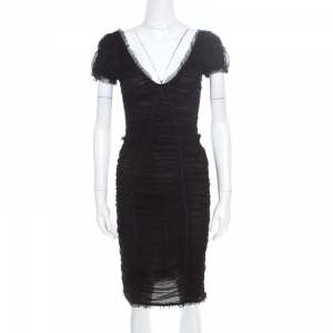Dolce and Gabbana Black Stretch Cotton Tulle Ruched Plunge Neck Fitted Dress M