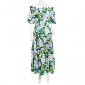 Dolce and Gabbana Hydrangea Printed Cotton Tiered Off Shoulder Maxi Dress M