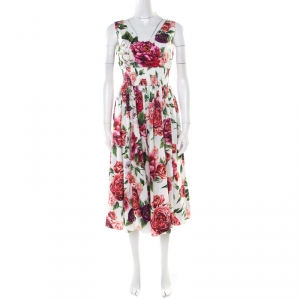 Dolce and Gabbana White Rose Printed Cotton Smocked Waist Detail Sleeveless Dress S