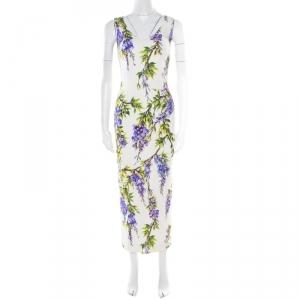 Dolce & Gabbana Off White Wisteria Printed Silk Charmeuse Sleeveless Sheath Dress XS