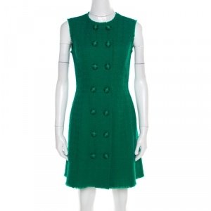 Dolce and Gabbana Green Textured Wool Double Breasted Sleeveless Dress S