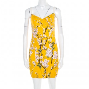 Dolce and Gabbana Yellow Almond Blossom Print Cotton Bustier Sheath Dress S