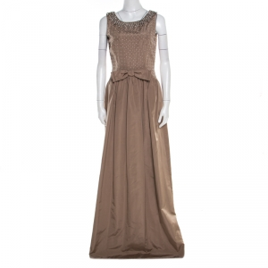 Dolce & Gabbana Brown Embellished Silk  Sleeveless Gown M