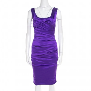 Dolce and Gabbana Purple Stretch Satin Ruched Sleeveless Dress S