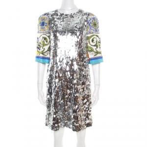 Dolce and Gabbana Majolica Print Embossed Jacquard Sequined Shift Dress S