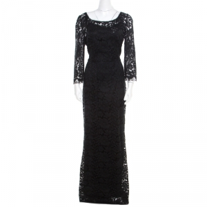 Dolce and Gabbana Black Floral Lace Scalloped Trim Long Sleeve Maxi Dress M