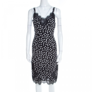 Dolce and Gabbana Black Polka Dotted Silk Lace Trim Sleeveless Dress S