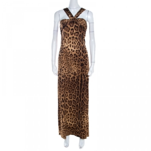Dolce & Gabbana Leopard Print Silk Knit Pleated Bodice Gown L