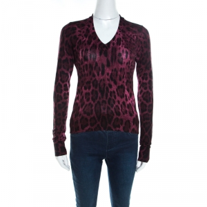 Dolce & Gabbana Mulberry Purple Leopard Print Wool Sweater Top S - used