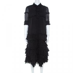 Dolce and Gabbana Black Silk Ruffle Layered Midi Dress M