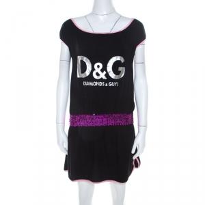 Dolce and Gabbana Black Jersey Drop Waist Sequin Embellished Dress M