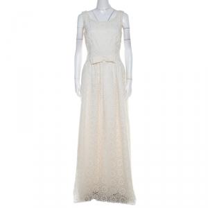 Dolce & Gabbana Cream Lace Waist Bow Detail Maxi Dress M - used