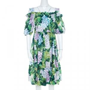 Dolce and Gabbana Hydrangea Print Cotton Poplin Elasticized Waist Cold Shoulder Dress S