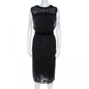 Dolce & Gabbana Black Sheer Silk Bodice Cap Sleeve Lace Dress S
