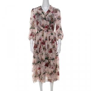 Dolce & Gabbana Multicolor Cat and Floral Print Silk Ruffled Trim Midi Dress M