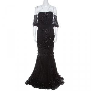 Dolce & Gabbana Black Embellished Tulle Ruched Off Shoulder Gown L used
