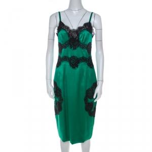 Dolce and Gabbana Green Silk Blend Contrast Lace Trim Midi Slip Dress M