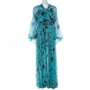 Dolce & Gabbana Blue Star Printed Georgette Elastic Waist Billowy Dress S